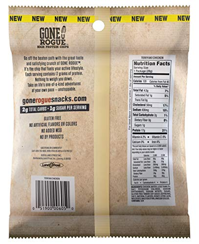Gone Rogue High Protein Teriyaki Chicken Chips, Low Carb, Gluten Free, Keto Friendly Snacks, 4 pack