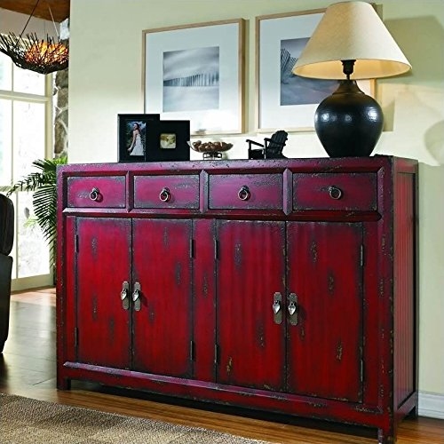 - Hooker Furniture 500-50-711 58'' Red Asian Cabinet, Hand Painted Rich