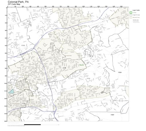 ZIP Code Wall Map of Colonial Park, PA ZIP Code Map Laminated