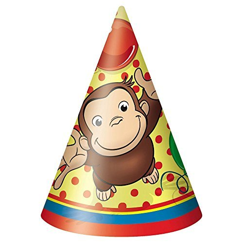 8 Curious George Happy Birthday Paper Party Cone Hats by Un