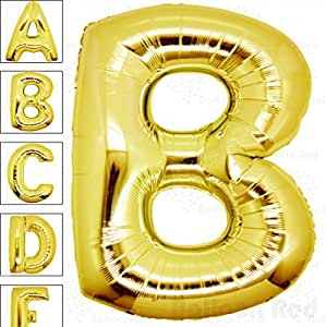 40 Inch Giant Jumbo Foil Mylar Alphabet Balloons Premium Quality for Helium Floating Party Decoration Photo Shot, Glossy Gold, Letter B