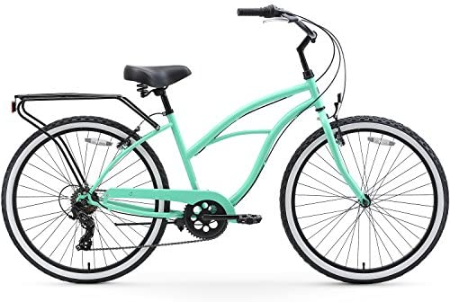 Amazon.com : sixthreezero Around The Block Women's Beach Cruiser Bicycle, 7-speed, 26-Inch, Mint Green with Black Seat and Grips