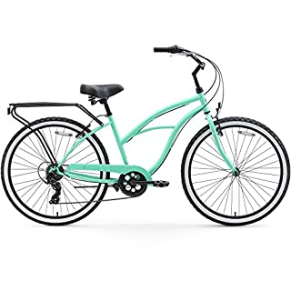 sixthreezero Around The Block Women's 7-Speed Cruiser Bicycle, Mint Green w/ Black Seat/Grips, 26