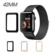 Apple Watch 42mm Screen Protector New Bee 3D Curved Full Coverage Metal Frame Tempered Glass Screen Protector Edge-To-Edge [Bubble-free] Screen Protector for Apple Watch Series 1 - 42mm (Black)