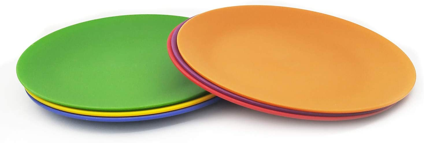 Plastic Plates Set of 24 - Unbreakable and Reusable 9.875 inches Dinner Plates, Multicolor | Dishwasher Safe, BPA Free