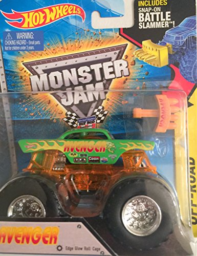 Avenger Hot Wheels Monster Jam Monster Truck 1:64 Scale with Edge Glow Roll Cage with Snap-On Battle Slammer Off-Road #73 - Edge Off Road