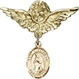 Gold Filled Baby Badge with St. Juan Diego Charm and Angel w/Wings Badge Pin 1 1/8 X 1 1/8 inches