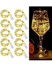 Luci Stringa LED - 20 LED 2M Mini Lampada a fili di rame Bianco Caldo, Lucine Decorative a Batteria Luci d'atmosfera Bottiglia di vino, Interni e Esterni per Festa, Natalizie, Halloween