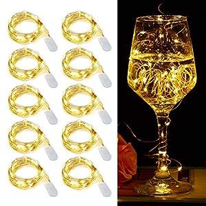 【10 pezzi】Luci Stringa LED - 20 LED 2M Mini Lampada a fili di rame Bianco Caldo, Lucine Decorative a Batteria Luci d'atmosfera Bottiglia di vino, Interni e Esterni per Festa, Natalizie, Halloween 1 spesavip