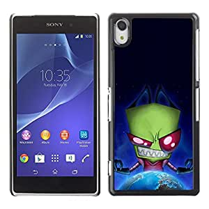Be Good Phone Accessory // Dura Cáscara cubierta Protectora Caso Carcasa Funda de Protección para Sony Xperia Z2 D6502 D6503 D6543 L50t L50u // Green Monster Evil Ufo Alien Villain