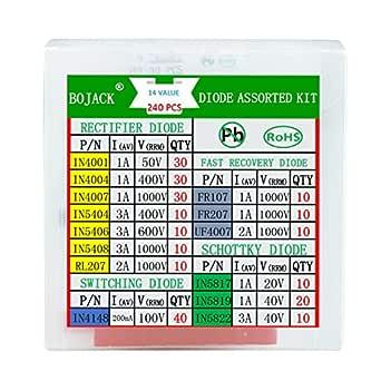 BOJACK 14 valor 240 uds Kit de surtido de diodos Contiene rectificador/recuperación rápida/Schottky/diodo de conmutación 1N4001 4004 4007 5404 5406 5408 RL207 FR107 207 UF4007 IN5817 5819 5822 4148: Amazon.es: Industria, empresas y ciencia