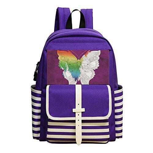 Mini School Bags For Kindergarten Boy Girl,Print Butterfly,Purple