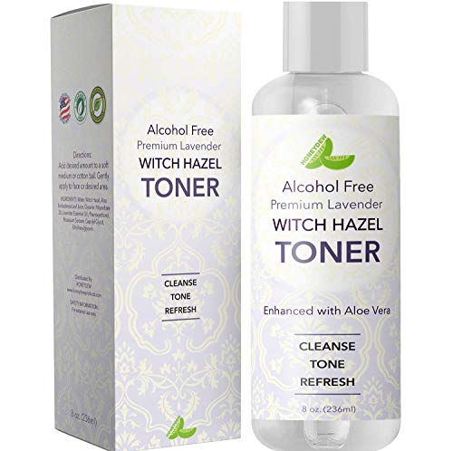 Beauty : Lavender Witch Hazel Toner with Aloe Vera for Skin Face and Scalp – Alcohol Free Mild Astringent to Gently Cleanse Skin Refine Pores and Combat Acne - Anti Aging Formula – Cruelty Free by Honeydew