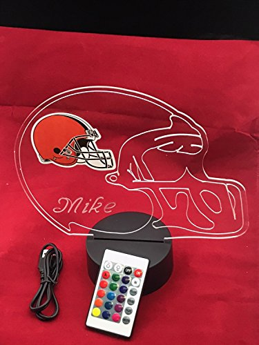 Browns NFL Light Up Lamp LED With Remote Personalized Free (Multi-colored, 12 Inches) (Browns Cleveland Lighting)