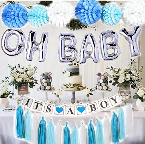 Baby Shower Decorations for Boy| OH BABY letters balloons| 6 pompoms| It's a Boy Banner| Blue Tasells| Blue Silver and Grey Baby Shower| Party Decorations| Blue backdrop|Centerpiece]()