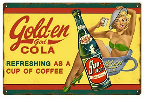 Tefoll Garage Sign Golden Girl Cola Refreshing As A Cup of Coffee Vintage Metal Signs 12X16 Inch