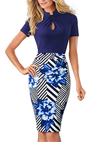 HOMEYEE Women's Short Sleeve Business Church Dress B430 (6, Dark Blue Stripe) by HOMEYEE (Image #5)