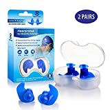 Hearprotek Swimming Ear Plugs, 2 Pairs Waterproof Reusable Silicone Ear Plugs for Swimmers Showering Bathing Surfing and Other Water Sports Adults Size