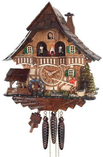 River City Clocks One Day Musical Cuckoo Clock Cottage Fisherman Raises Pole and Moving Waterwheel
