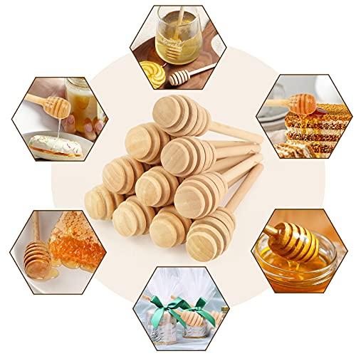 HANSGO Honeycomb Stick, 20PCS 4 Inch Mini Wood Honey Dipper Sticks Honey Stirrer