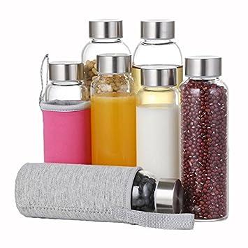 BHPSU 280 ML 550 ML Botellas de Agua de Cristal de borosilicato con Bolsa de Transporte de Viaje a Prueba de Fugas Botella de exprimidor: Amazon.es: Coche y ...