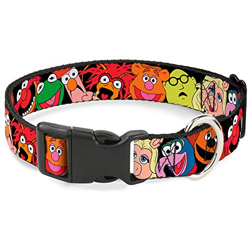 Buckle-Down Muppets Faces Black Disney Breakaway Plastic Clip Collar, Narrow-Small