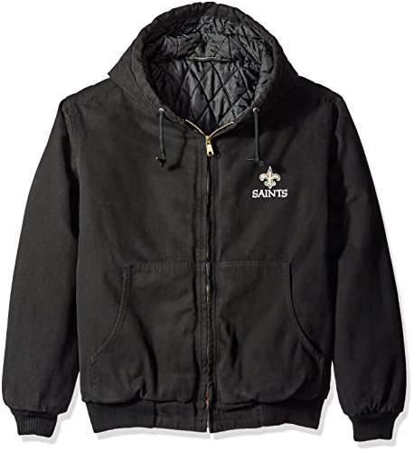 NFL New Orleans Saints Cumberland Canvas Quilt Lined Hooded Jacket, Black, Small (Pullover Saints Jacket Orleans New)