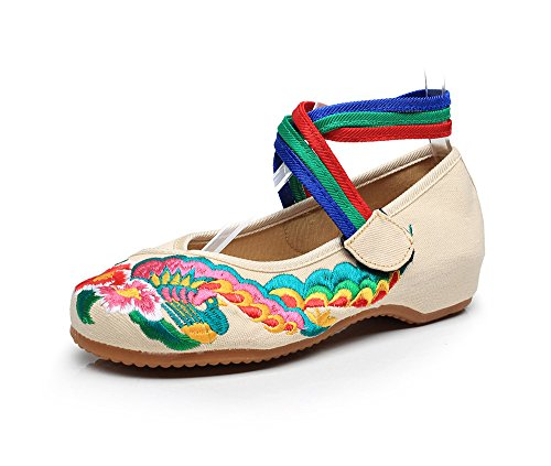 Mujer Cómodo Casual Alemán Subida A Zapatos Cortina Estilo De Cordones Beige La Dentro Suela Mn Ethnischer UB0Twx