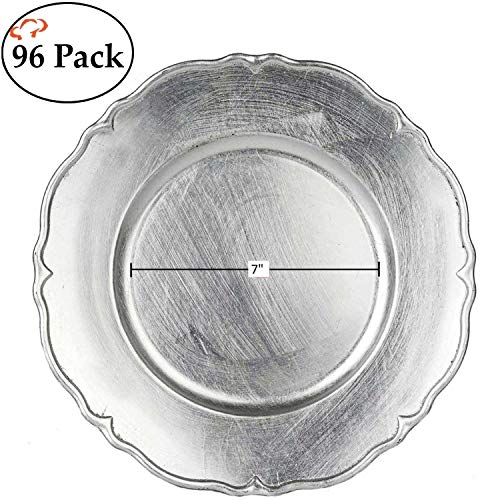 (Tiger Chef 13-inch Gold Scalloped Rimmed Round Charger Plates, Set of 2,4,6, 12 or 24 Dinner Chargers for Wedding Reception Table Place Settings (96, Silver))