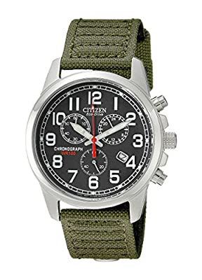 Citizen Watches Mens AT0200-05E Eco-Drive Chronograph Canvas Watch