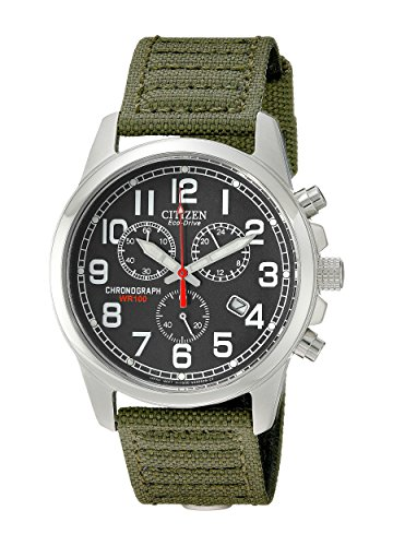 Citizen Men's AT0200-05E Eco-Drive Stainless Steel Watch with Green Canvas Band (Watch Sapphire Crystal)