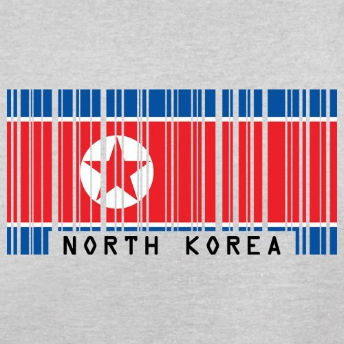 North Korea / Nordkorea Barcode Flagge - Herren T-Shirt - Hellgrau - XXL