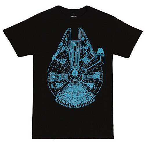 Star Wars- Falcon in Blue T-Shirt 1 x 1in , Black , 3X-Large