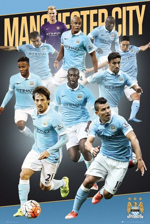 Manchester City Players 2015 2016 Football Soccer Poster 24x36 - Manchester Bedroom Furniture