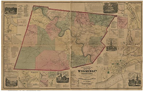 Wyoming County Pennsylvania 1869 - Wall Map with Homeowner Names - Old Map Reprint