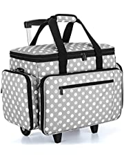 Luxja Sewing Machine Case with Detachable Dolly, Rolling Sewing Machine Tote with Removable Bottom Pad (Fits for Most Standard Sewing Machines), Gray Dots (Patented Design)