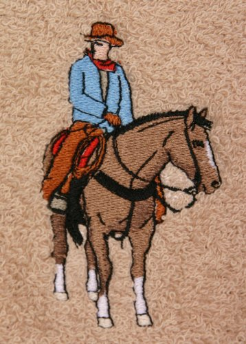 (Bath Towel Set with Embroidered Cowboy on a Horse - Beige Terry)