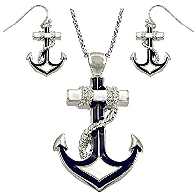 """DianaL Boutique Silvertone Nautical Anchor Pendant Necklace and Earring Set 24"""" Chain"""