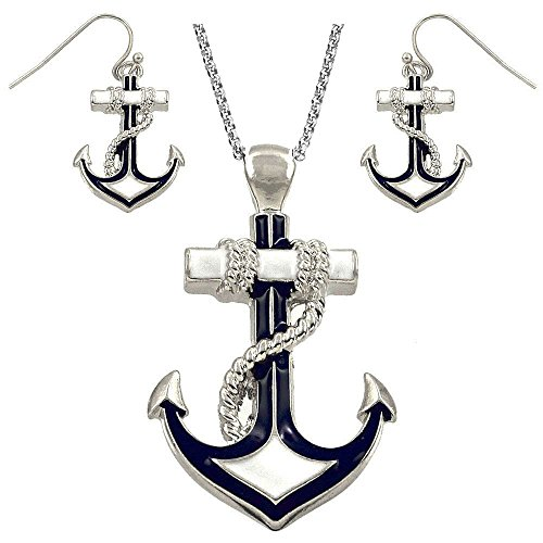 - DianaL Boutique Silvertone Nautical Anchor Pendant Necklace and Earring Set 24