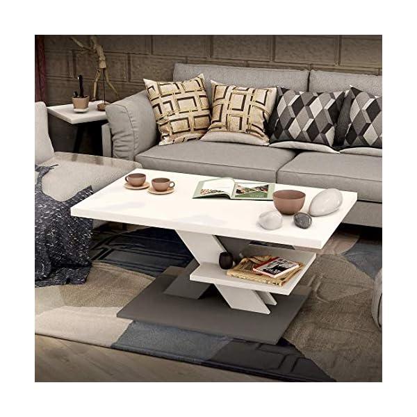 Viosimc Table Basse de Salon Blanche et griseavec étagère, Table Centrale Blanche Moderne et élégante pour thé et Le café. Design épuré et Un Choix Parfait – Un ajout élégant à n'importe Quel Salon