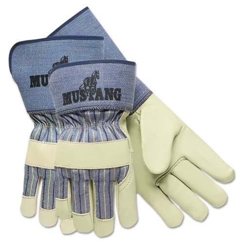 Mustang Leather Grain - MCR Safety 1936M Mustang Full Grain Cow Leather Premium Grade Palm Gloves with 4-1/2-Inch Rubberized Gauntlet Cuffs, Cream, Medium, 1-Pair by MCR Safety