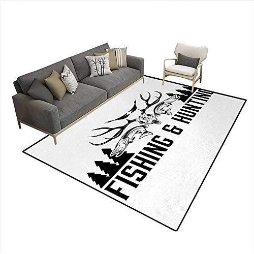 Price comparison product image Carpet, Hunting and Fishing in Vintage Emblem Design Antler Horns Mallard Pine Tree, Rug Kid Carpet, Black and WhiteSize:6'x7'