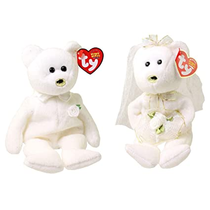 02ff8da46eb Image Unavailable. Image not available for. Color  TY Beanie Babies - Set  of 2 Wedding Bears ...