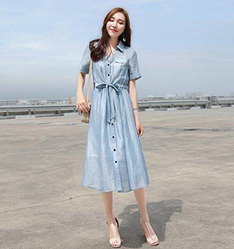 de Robes la Chemise Longues la Longueur Blue Short Sleeve l'usure de d't Vtements Robe Manches Jupe pour MiGMV Femmes Moyenne Taille Sept Point Women's L POtI8v