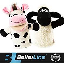"""Better Line Animal Hand Puppets Set Of 2- Premium Quality, 9.5"""" Soft Plush Hand Puppets For Kids- Perfect For Storytelling, Teaching, Preschool, Role-Play Cow and Sheep Toy Puppets"""