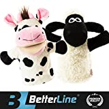 """Image of Better Line Animal Hand Puppets Set Of 2- Premium Quality, 14"""" Soft Plush Hand Puppets For Kids- Perfect For Storytelling, Teaching, Preschool, Role-Play Cow and Sheep Toy Puppets"""