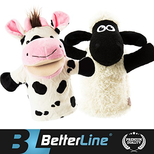 BETTERLINE Animal Hand Puppets Set of 2 Premium Quality, 9.5 Inches Soft Plush Hand Puppets for Kids- Perfect for Storytelling, Teaching, Preschool, Role-Play Toy Puppets (Cow and Sheep)
