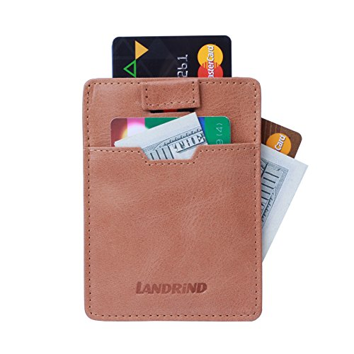 LANDRiND RFID Blocking Genuine Full Grain Leather Front Pocket Slim Wallets with Pull Tab Design for Men (Brown) (10 Most Luxurious Cars In The World)