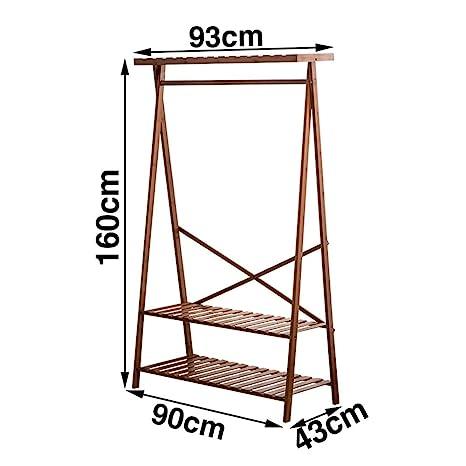 Amazon.com: JIAYING - Perchero de pie de bambú con 3 ...