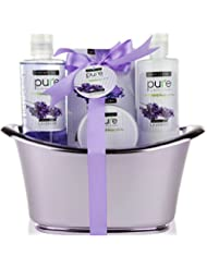 Pure by Rachelle Parker Lavender Essential Oil Spa Basket! Redefine Luxury The Ultimate Lavender Spa Gift Basket. Voted #1 Bubble Bath Set Bath & Body Gift Set!